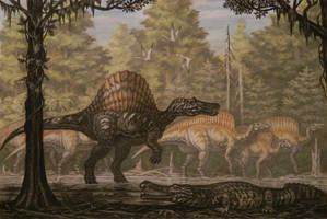 Spinosaurus, Ouranosaurus by ABelov2014