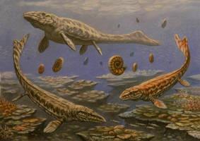 Prognathodon, Mosasaurus, Globidens. by ABelov2014