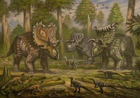 Utahceratops, Nasutoceratops, Kosmoceratops by ABelov2014
