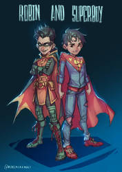 Robin and Superboy by MinemikoMali