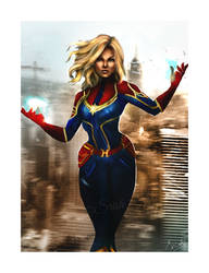 Captain Marvel Fanart by ladysofhousen