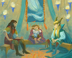 Bilbo, Tranduil and Bard by Bard-the-zombie