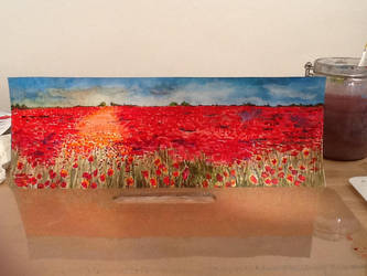 Sea of red poppy field, in watercolours by Liquidlolly