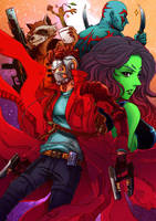 Guardians of the Galaxy+team pose by xanseviera