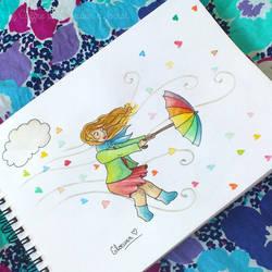 Umbrella and rain of love by Gloewen-Art