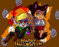Pumpkin and Nessa Halloween by Margaret-Lupin