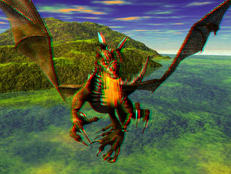 Charging Dragon Anaglyph by Tkrain