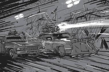 Gaslands Interceptor Impala Duel by StugMeister
