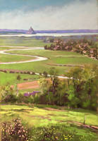 Mont Saint Michel from Avranches soft pastel by PatrickHENRY