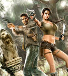 Lara Croft and Nathan Drake by RaffaeleMarinetti