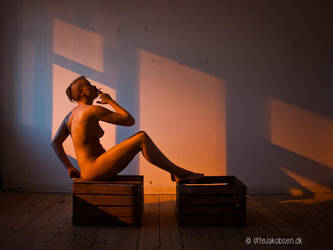 Sitting on a box smoking by UffeJakobsen