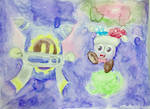 [Kirby - Watercolor Pencils] Dancing in the Space by TheGreatKitCat