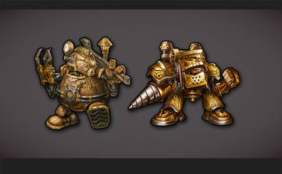 steampunk robots concept by diorzhang