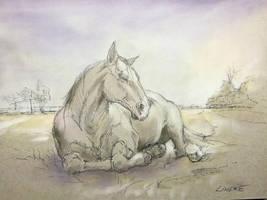 Sleeping beauty - Ink and Panpastel by Lineke-Lijn