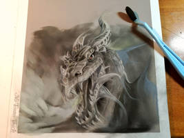 Dragon drawing in pastelpencil and panpastel by Lineke-Lijn