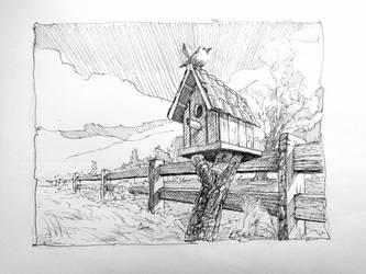 Birdhouse in pen and ink by Lineke-Lijn