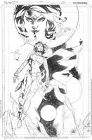 Powergirl and Dejah Thoris Collide by DrewEdwardJohnson