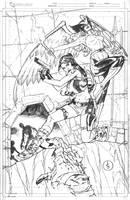 Lara Croft And Silver Age Hawkgirl Commission by DrewEdwardJohnson
