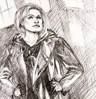 The 13th Doctor Ballpoint Pen Sketch by DrewEdwardJohnson