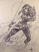 Mara Jade Ballpoint Pen Sketch  by DrewEdwardJohnson