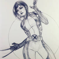 Wolverine Ballpoint Pen Drawing  by DrewEdwardJohnson