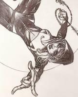 Spider-Gwen Ballpoint Pen Drawing  by DrewEdwardJohnson