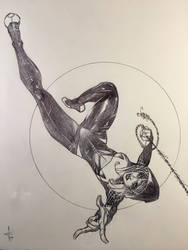 Spider-Gwen Full Body Ballpoint Pen Drawing  by DrewEdwardJohnson