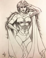 Emma Frost Ballpoint Pen Drawing  by DrewEdwardJohnson