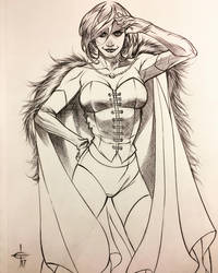 Emma Frost Ballpoint Pen Drawing  by DrewEdwardJohnson
