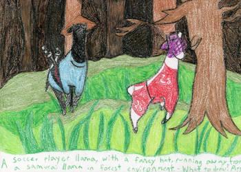 A soccer player llama and a samurai llama... by llamalist