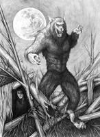 Hiding from Werewolf by whiterabbitart