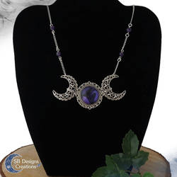 Triple moon amethyst necklace Witchy jewelry by Nyjama