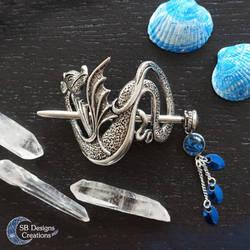 Dragon hairpin Fantasy hair jewelry Blue Dragon by Nyjama