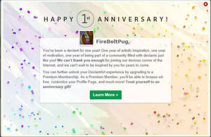 Happy 1 year to me by FireBoltPug