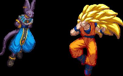 Goku (Super Saiyan 3) Vs Beerus by Lol8ossman