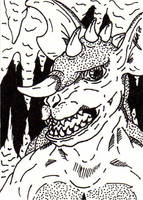 Baragon Sketch Card by jamsketchbook