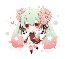 Chibi sakura miku by Nanatsuki-Jinko