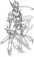 Paladin armor line art by CrimsonGear