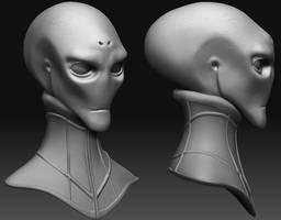 Alien Diplomat Bust in ZBrush by CrimsonGear