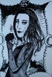 Morticia from Addams family fanart by ViktorStefan