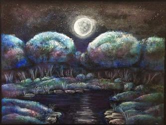 Original Painting: Moonlight Brook (Etsy) by geck0gir1