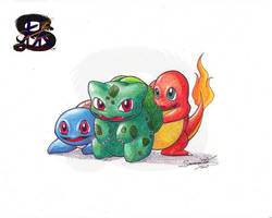 1 2 3 friends! - pokemon fan art - Pencil art by sammacha