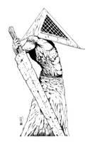 Pyramid Head (Silent Hill) inks by shoveke