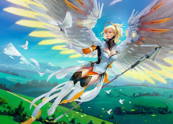 Hybrid Wings - Fantasy Mercy Wallpaper by fantasio