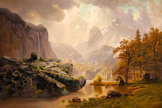 Millenium Falcon at the Mountains after Bierstadt by fantasio