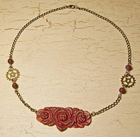 Steampunk rose necklace by skuggsida