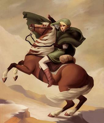 The Hero Crossing Death Mountain by rollingrabbit