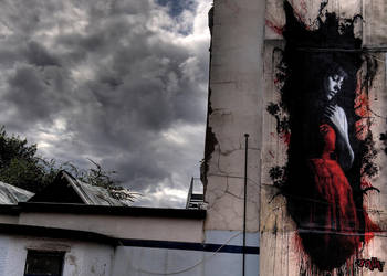 Girl in the red dress by snikstencilstuff