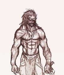 Orc Warrior Sketch by OnHolyServiceBound
