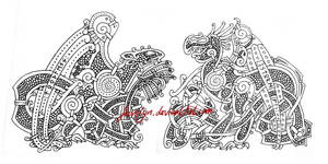 Toothless and Stormfly - Viking Knotwork by Feivelyn